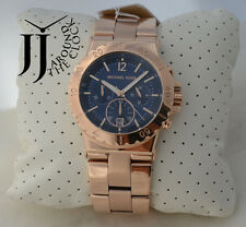 NEW MICHAEL KORS DYLAN ROSE GOLD TONE CRYSTAL BAGUETTE CHRONOGRAPH MK5410