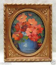 Floral Oil Painting on Canvas in Elegant Gold Antique Style Photo Frame 10x12""
