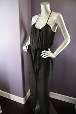 NWT Victoria's Secret The Henley Maxi in Black Sleeveless Belted Tank Dress S