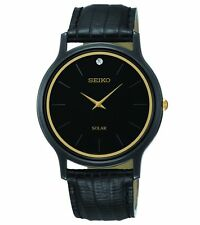 Mens Seiko Solar Black Leather Band Diamond Accent Casual Dress Watch SUP875