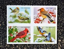 2016USA Forever - Songbirds in the Snow - Block of 4  Mint birds cardinal