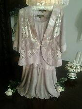 NEW SPENCER ALEXIS  3PC LILAC JACKET SKIRT SHELL SILVERY   LAPEL LILAC LACE  SP