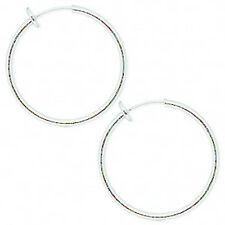 1 Pair Clip On Hoop Earrings With Pierced Look Spring Closure Plated Metal