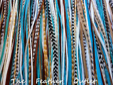 Lot 25 Grizzly Feathers Hair Extensions saddle Turquoise Natural Browns NATIVE