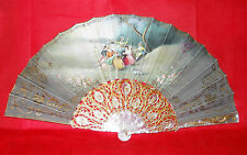 Superb Antique Fan French Carved Mother Of Pearl Hand Painted Laidies