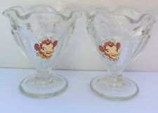 Vintage 2 ELSIE THE COW Borden Dairy Ice Cream Sundae Pudding Dessert Cup Dish
