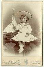 Victorian cabinet card child & model yacht  Newport Isle of wight photographer