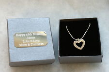 Personalised Gift Box + Heart Necklace Girlfriend/Fiancee/Wife/Best Friend/Girls