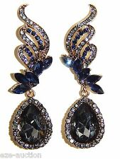 NEW DESIGN GOLD W SAPPHIRE AND BLACK DIAMOND CRYSTAL TEARDROP EARRINGS