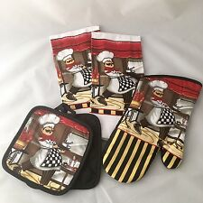 Kitchen Set 5 Pc Dish Towels Oven Mitts Potholders Fat Chef Love to Cook Design