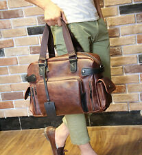 "Men""s Business Leather Handbag Messenger Bags Vintage Briefcase Laptop Shoulder"