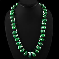 PEAR SHAPED 665.00 CTS EARTH MINED RICH GREEN EMERALD BEADS NECKLACE STRAND
