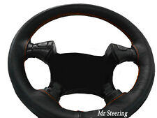 FOR TOYOTA MR2 MK2 1990-98 100%REAL BLACK LEATHER STEERING WHEEL COVER ORANGE ST