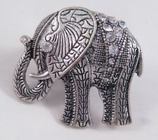 New Antiqued Silver Elephant Stretch Ring With Rhinestone Crystals #R1118