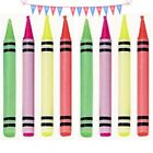 10 Crayon Style Birthday Cake Candles-Children's Birthday Party Supplies