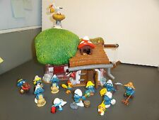 VTG lot Original Smurf FARMHOUSE stork farmer turkey pie smurfette baby SCHLEICH