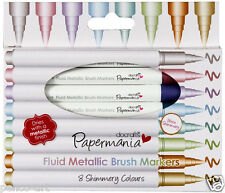 Docrafts Papermania fluid metallic felt tipped brush tip marker Pen 8pc set pens