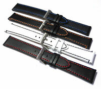 Black Smooth Calf Leather Watch Strap. Choice of stitch colour in 18mm & 20mm