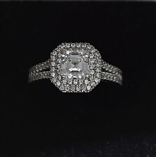 14K White Gold Asscher Cut Created Diamond Halo Women's Engagement Ring 1.5TCW