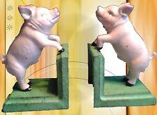 Buchstützen Eisen Guss Schweinchen Nostalgiegeschenk Vintage Deko Schrank Deko 2