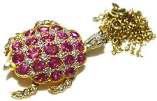 STUNNING LEVIAN PINK SAPPHIRE & DIAMOND 18K GOLD TURTLE BROOCH PIN NECKLACE