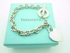 "Tiffany & Co. Sterling Silver Heart Tag Toggle Chain Link Bracelet 7.5"" With Box"