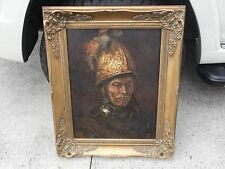 "Vintage signed Oil Painting on wood of ""The Man with Golden Helmet"" Renaissance"