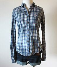 HOLLISTER Abercrombie Plaid Checkered Button Down Dress T Shirt Top Blouse XS