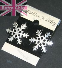2cm BIG SNOWFLAKE STUD EARRINGS studs SILVER PLTD FASHION winter snow FESTIVE
