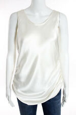 Dusan Ivory Sleeveless Scoop Neck Ruched Detail Tank Top Blouse Size Medium New