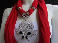 WOMEN SOFT RED FABRIC FASHION SCARF NECKLACE SILVER FLOWERS BUTTERFLY PENDANT