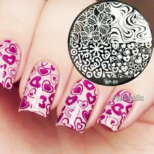 Nail Art Stamping Template BORN PRETTY Heart & Leave Texture Image Plate #50