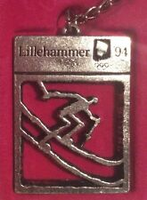 Lillehammer Norway 1994  XVII Olympic Winter Games Pewter Keychain Ski Skiing