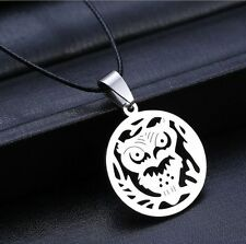 1PC Fashion Stainless Steel Silver Hollow Out Owl Pendant Necklace