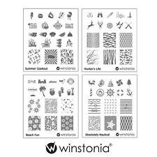 Winstonia Set 3 Nail Art Stamping Image Plate Bundle Stamp Hunter Nautical Beach