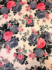 B4 Viscose Elastane Nude Multi Retro Floral Flower Print Jersey Stretch Fabric
