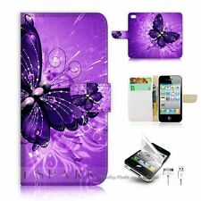 iPhone 4 4S Flip Wallet Case Cover! S8184 Purple Butterfly