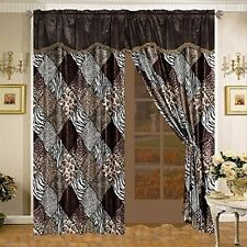 4 Pc Brown Black Animal Leopard Print Micro fur Curtain Set with Valance & Sheer