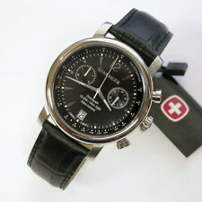 NEW $275 GENTS WENGER 43MM BLACK DIAL URBAN CLASSIC STRAP CHRON WATCH #1043.112