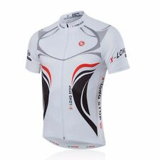 Men White Cycling Bike Short Sleeve Jersey Top Bicycle Shirt Clothing Quick Dry