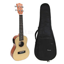 24 Inch Laminated Spruce Electric Acoustic Concert Ukulele Hawaii Guitar W/Bag