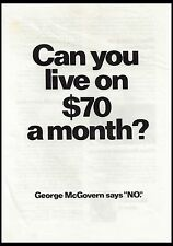 """Can you live on $70 a month?  George McGovern says """"NO"""". (BI#53)"""