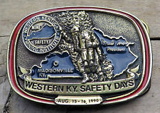 Madisonville Western Kentucky Mine Rescue Coal Mining Miner Vintage Belt Buckle