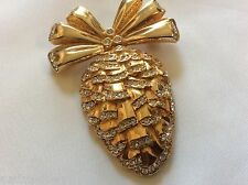 SWAROVSKI large Clear Crystal Pinecone Charm & Bow Gold Tone Pin Brooch