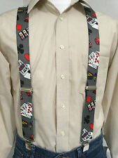 """New, Men's, Casino on Gray, XL, 1.5"""", Adj. Suspenders / Braces,  Made in the USA"""
