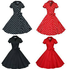 Women's Polka Dot Vintage 1950s Rockabilly Casual Party Classical Swing Dress