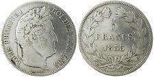 LOUIS-PHILIPPE    5  FRANCS  ARGENT  TETE  LAURÉE  ,  1835  MA  MARSEILLE   RARE