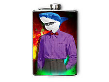 Handsome Shark in Suit Decorated Stainless Steel Flask 8oz FN496