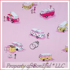 BonEful FABRIC FQ Cotton Quilt VTG Pink VW Van Car Camp Hippie Peace Girl Scout