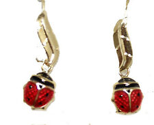 Ladybug Dangle Earrnig 14k Gold Earring - Ladybug Earring Hook Wire Earring